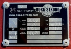 Dura-Strong coded ID plate example